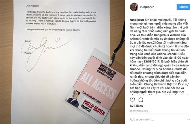 Phillip Nguyễn đăng thư chính thức xin lỗi khán giả kèm theo chữ ký của Ariana Grande - Ảnh 1.