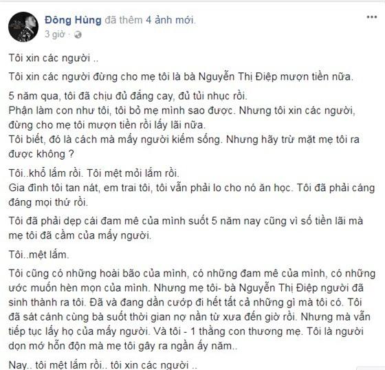 Đông Hùng, ca sĩ Đông Hùng, mẹ Đông Hùng nợ nần, Đông Hùng bị chém,chuyện làng sao,sao Việt