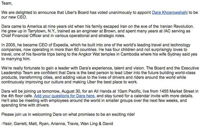 Ban lãnh đạo gửi thư chào đón CEO mới.
