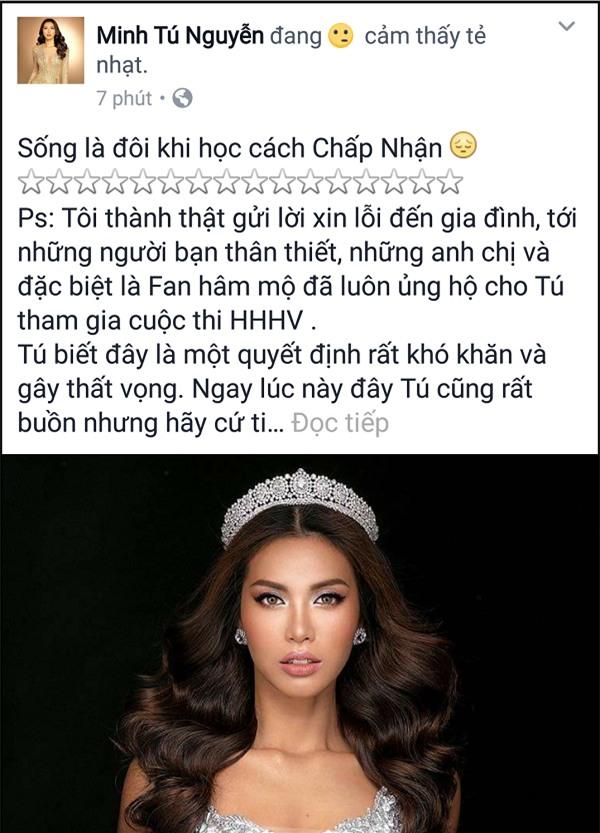 Minh Tú xin lỗi người hâm mộ, chúc Hoàng Thùy may mắn tại cuộc đua Hoa hậu-2