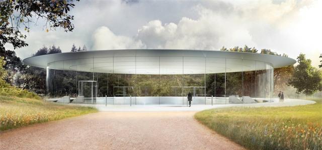 Phần nằm trên chính là sảnh đợi của tòa nhà, rộng 165 feet (tương đương 50 mét vuông) và có cửa kính cao 6 mét bao phủ xung quanh. Mái của rạp hát được làm hoàn toàn bằng sợi carbon tổng hợp.