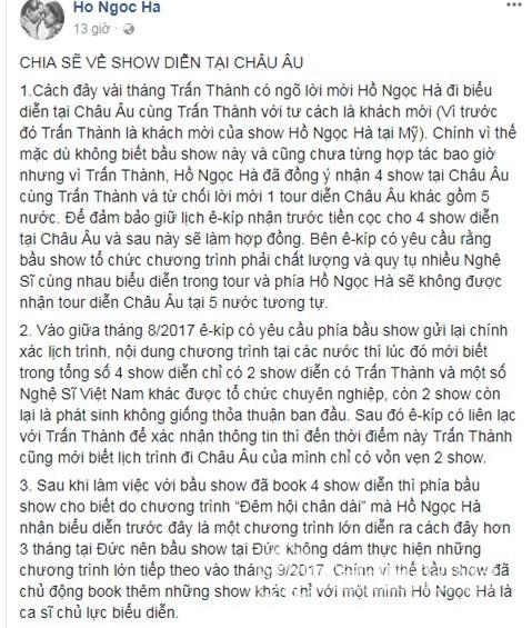 Hồ Ngọc Hà, ca sĩ Hồ Ngọc Hà, Hồ Ngọc Hà bị tố hủy show,