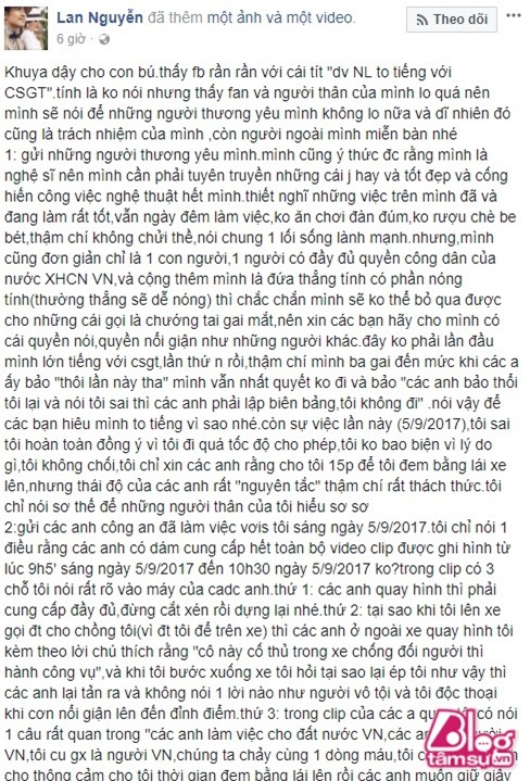 Giua scandal quat thao canh sat cua Ngoc Lan, Thanh Binh treo status dong vien vo