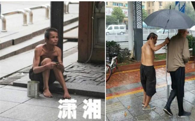 Người ăn mày khuyết tật tận tuỵ che ô cho cụ già chống nạng tập tễnh bước đi trong mưa gây xúc động mạnh