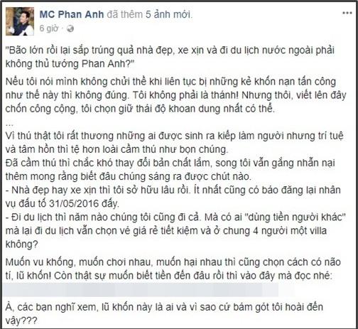 Dòng trạng thái đáp trả anti-fan của MC Phan Anh được đăng tải trên trang cá nhân. - Tin sao Viet - Tin tuc sao Viet - Scandal sao Viet - Tin tuc cua Sao - Tin cua Sao