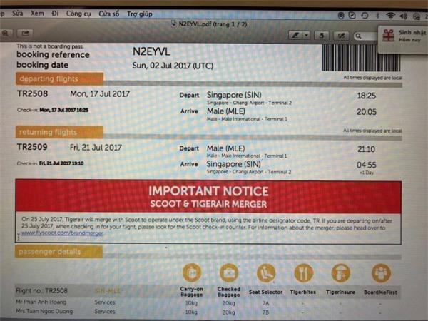Phan Anh còn chia sẻ cả ảnh chụp vé máy bay được đặt từ hãng hàng không giá rẻ. - Tin sao Viet - Tin tuc sao Viet - Scandal sao Viet - Tin tuc cua Sao - Tin cua Sao