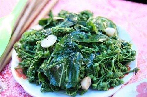 Hoa và lá ngón xào tỏi –đặc sảncủa người Thái trắng