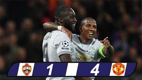 Bảng A Champions League: Lukaku lập kỷ lục, M.U đánh nhanh diệt gọn CSKA Moscow
