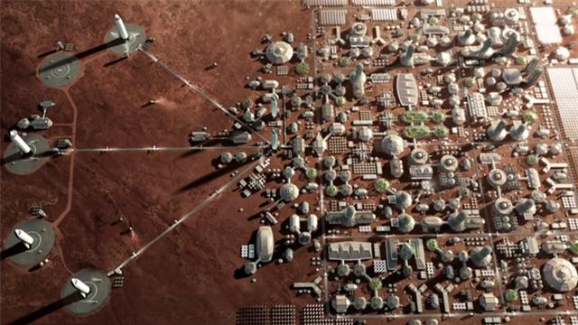 Hình ảnh phác thảo kế hoạch từng bước xây dựng căn cứ tại sao Hỏa của Elon Musk