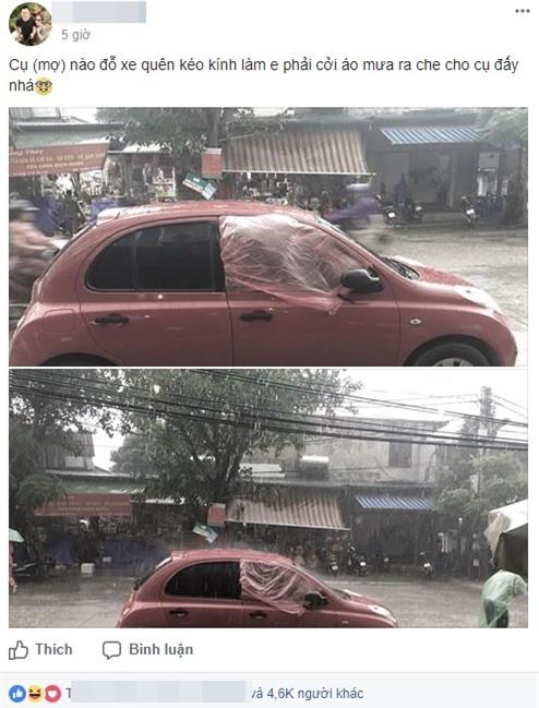 Chiếc áo mưa giấy, xe mất ô cửa và hành động đẹp khiến nhiều người thích thú - Ảnh 1.