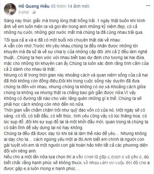 Hồ Quang Hiếu, Hồ Quang Hiếu chia tay Bảo Anh, Bảo Anh,chuyện làng sao,sao Việt