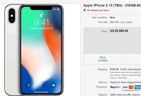 Một lời rao bán suất đặt trước iPhone X với giá 2.995USD