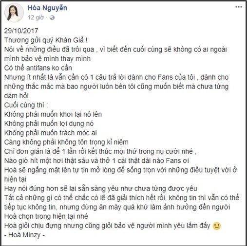 Dòng trạng thái đáp trả anti-fan của Hòa Minzy. - Tin sao Viet - Tin tuc sao Viet - Scandal sao Viet - Tin tuc cua Sao - Tin cua Sao