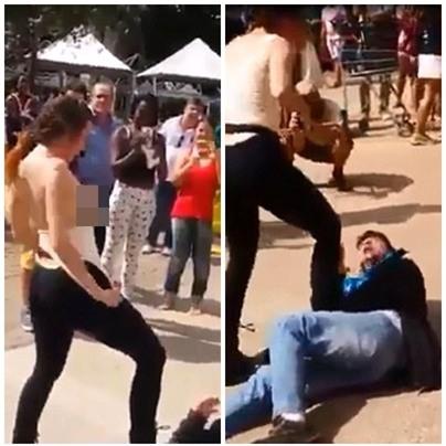 Sự thật đằng sau đoạn video người phụ nữ cởi áo, dùng ngực tấn công gã yêu râu xanh ở Brazil - Ảnh 1.