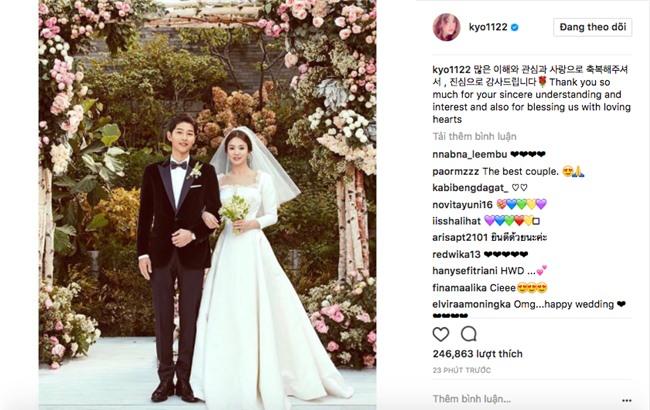 Cô dâu Song Hye Kyo khoe ảnh cưới, lần đầu lên tiếng sau siêu đám cưới với lang quân Song Joong Ki - Ảnh 1.