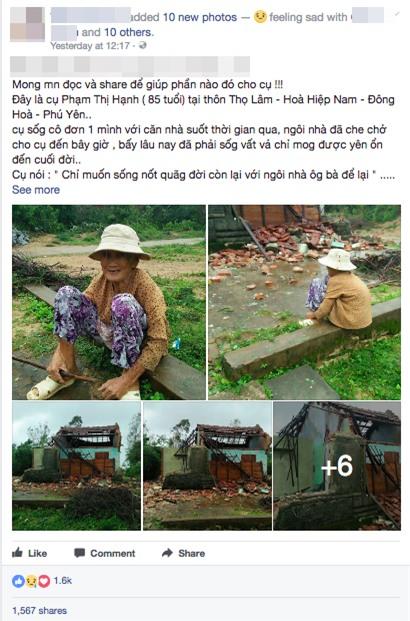 Chỉ mong được sống nốt quãng đời với ngôi nhà ông bà để lại, vậy mà cơn bão số 12 đã cuốn sập tất cả của cụ bà neo đơn - Ảnh 1.