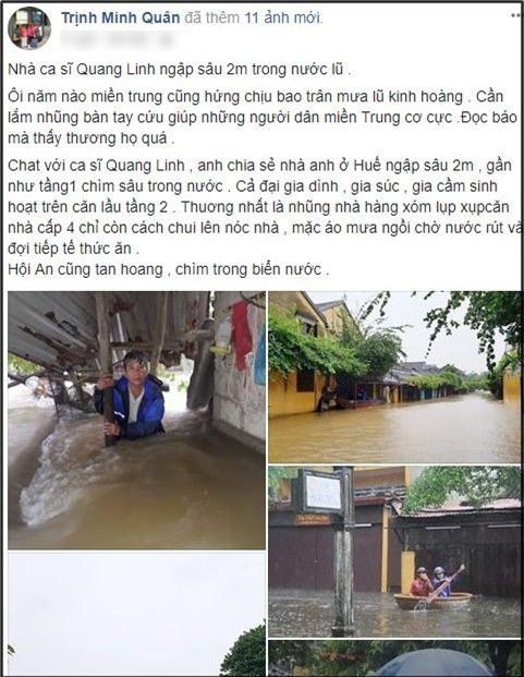 Nhà của ca sĩ Quang Linh tại Huế ngập sâu 2 mét vì bão Damrey - Ảnh 1.