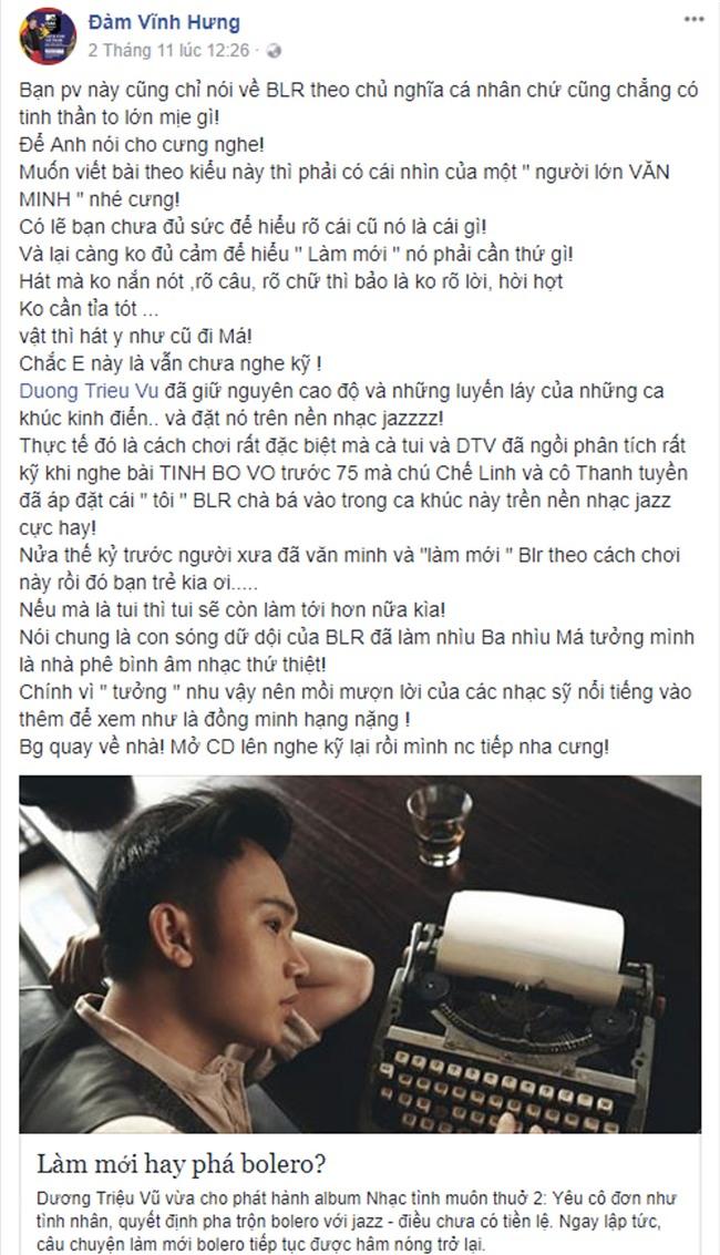 Nghệ sĩ Việt lên tiếng bênh vực Dương Triệu Vũ trước ý kiến trái chiều về việc làm mới bolero-2
