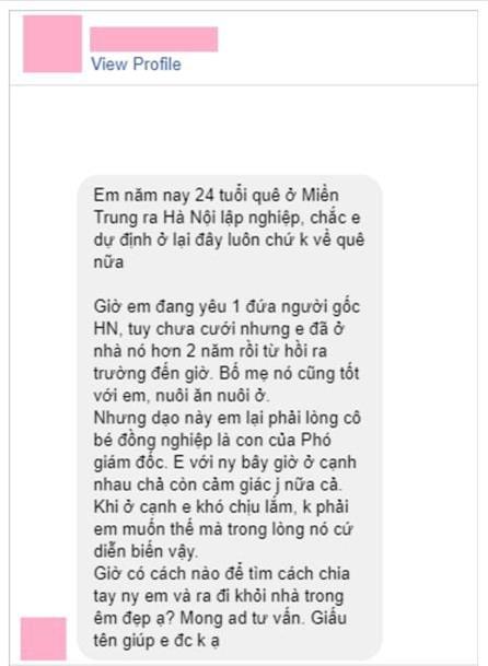 "dan mang tich cuc ""ung ho"" thanh nien nho tu van chia tay ban gai bao nuoi minh 2 nam - 1"