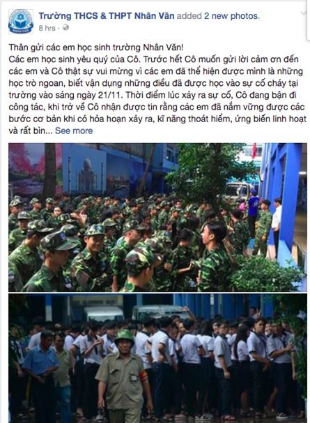 Cô hiệu trưởng viết tâm thư cảm ơn học sinh sau vụ cháy trường học ở Sài Gòn - Ảnh 1.