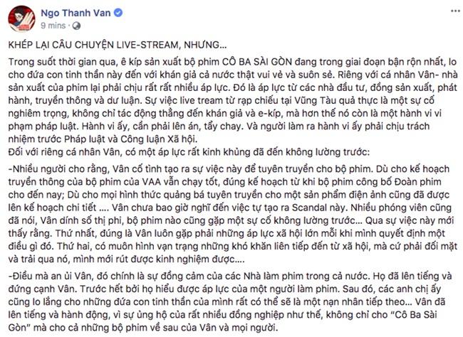 Ngô Thanh Vân công bố chấp nhận lời xin lỗi của người livestream lém phim Cô Ba Sài Gòn - Ảnh 3.