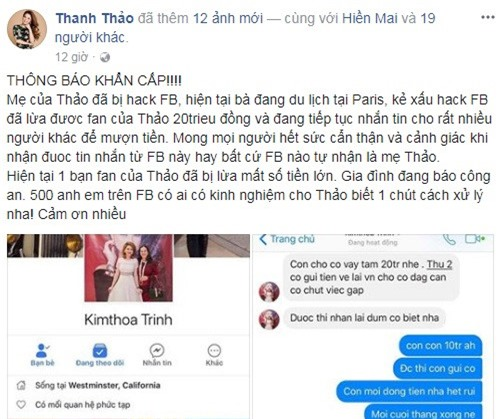 Me ca si Thanh Thao bi hack Facebook, lua fan 100 trieu dong hinh anh 1