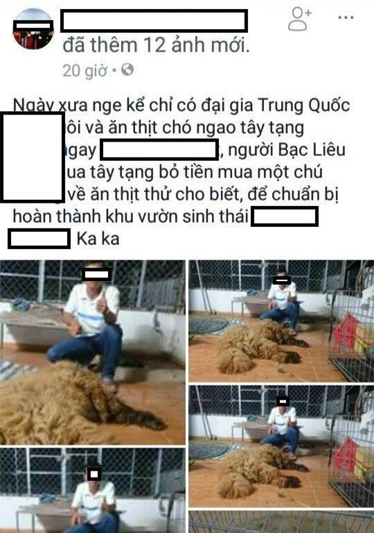 Mua chó ngao Tây Tạng về làm thịt nhậu rồi khoe trên Facebook, thanh niên Bạc Liêu bị chỉ trích dữ dội - Ảnh 2.