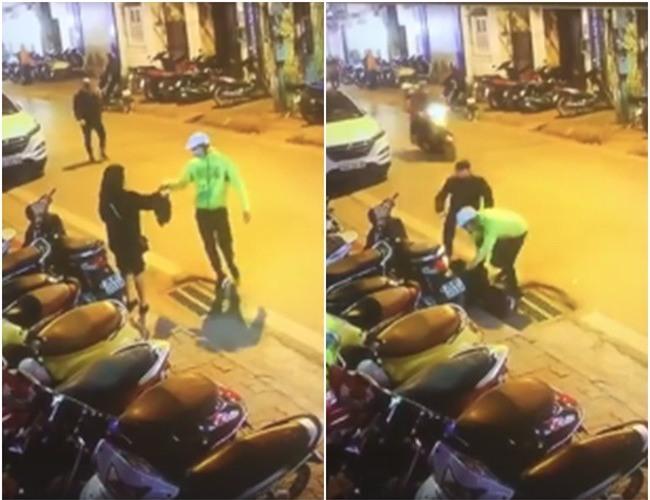 Clip gây phẫn nộ: Đang đứng chờ nhận đồ, cô gái Hà Nội bất ngờ bị 2 thanh niên giả làm shipper đấm đá dã man - Ảnh 2.