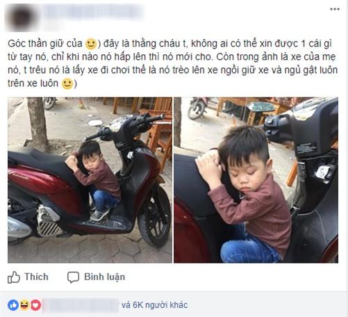 Phì cười với cậu bé vì lo giữ của mà ngủ quên trên xe lúc nào không hay - Ảnh 1.