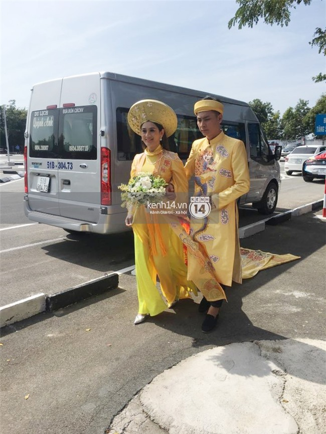 Cô dâu Lâm Khánh Chi diện áo dài long phụng quét đất về nhà chồng - Ảnh 2.