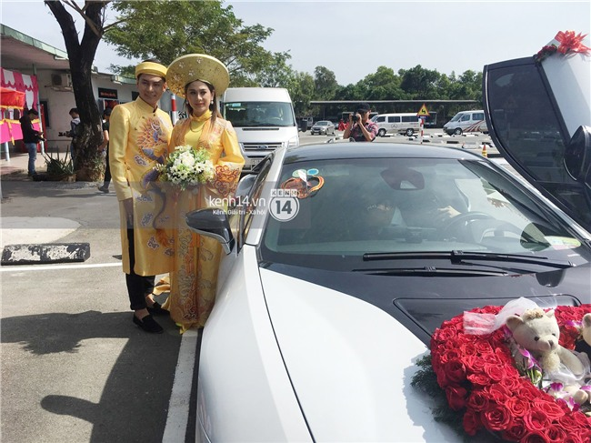 Cô dâu Lâm Khánh Chi diện áo dài long phụng quét đất về nhà chồng - Ảnh 6.