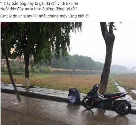 Chang trai khoc duoi mua 3 tieng sau khi ban gai bo vi di xe so? hinh anh 1