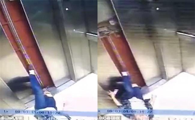 Mải nghịch điện thoại, người phụ nữ ngã sấp trong thang máy, chân mắc kẹt ở cửa và bị kéo lên vài tầng - Ảnh 2.