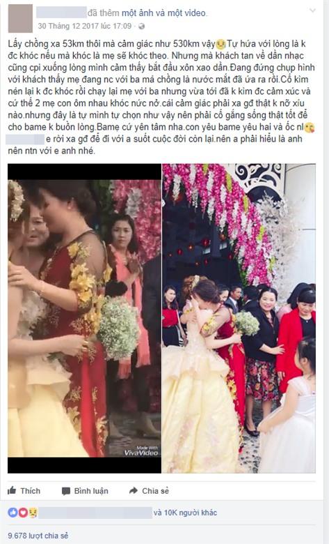 Clip cô dâu ôm cha mẹ khóc nức nở trong ngày cưới: Lấy chồng xa 53km thôi mà cảm giác như 530km vậy - Ảnh 1.