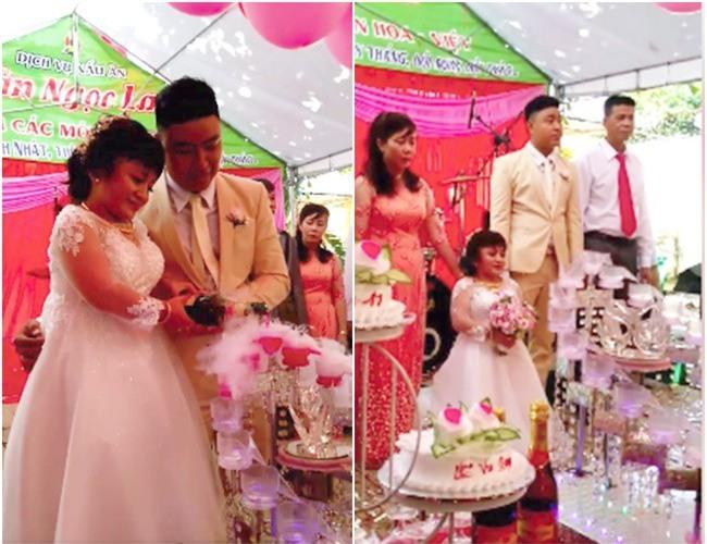 Chú rể cao 1m76 bế bổng cô dâu nấm lùn cao chưa đến 1m lên ghế cắt bánh trong tiệc cưới gây xôn xao - Ảnh 2.