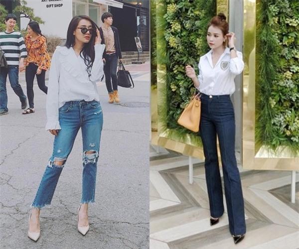 Là tín đồ của gam trắng tất nhiên cả Nhã Phương và Sam không thể thiếu món đồ basic như áo sơ mi. Cả hai đều lựa chọn kết hợp cùng quần jeans, tạo nên sự năng động cá tính với phong cách thời trang đường phố