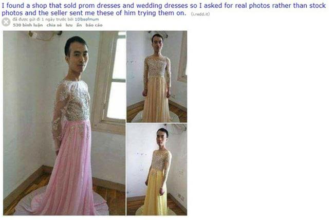 Nam chủ shop online chơi trội tự mặc nguyên quả đầm cánh cụp cánh xòe cho khách nữ xem mẫu - Ảnh 1.