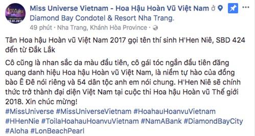 Fanpage Hoa hậu Hoàn vũ Việt Nam bị chỉ trích khi gọi HHen Niê là hoa hậu da màu đầu tiên