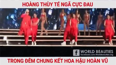 Clip: Hoàng Thùy té ngã cực mạnh trên sân khấu đêm chung kết Hoa hậu Hoàn vũ Việt Nam 2017 - Ảnh 2.