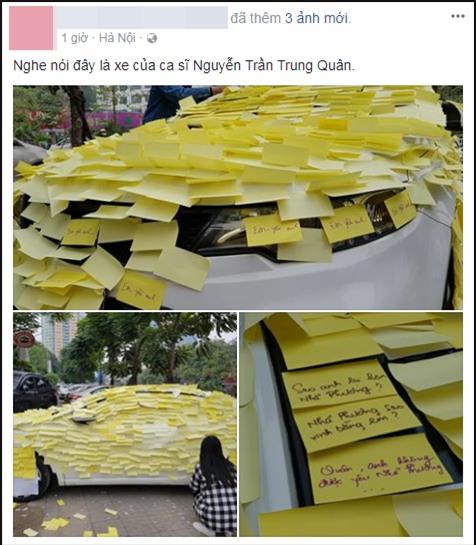 Ghen tuông với Nhã Phương, fan cuồng dán giấy đầy xe của Nguyễn Trần Trung Quân để tỏ tình-1
