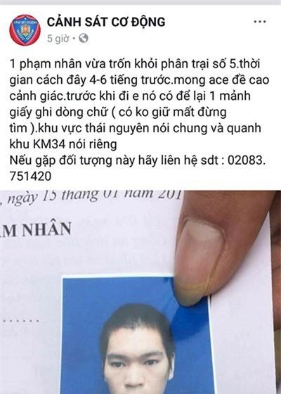 Thái Nguyên: Một phạm nhân vừa trốn trại, để lại lời nhắn có không giữ mất đừng tìm - Ảnh 1.
