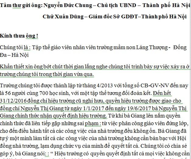Trích tâm thư gửi Chủ tịch UBND Thành phố Hà Nội và Giám đốc Sở GD&ĐT thành phố