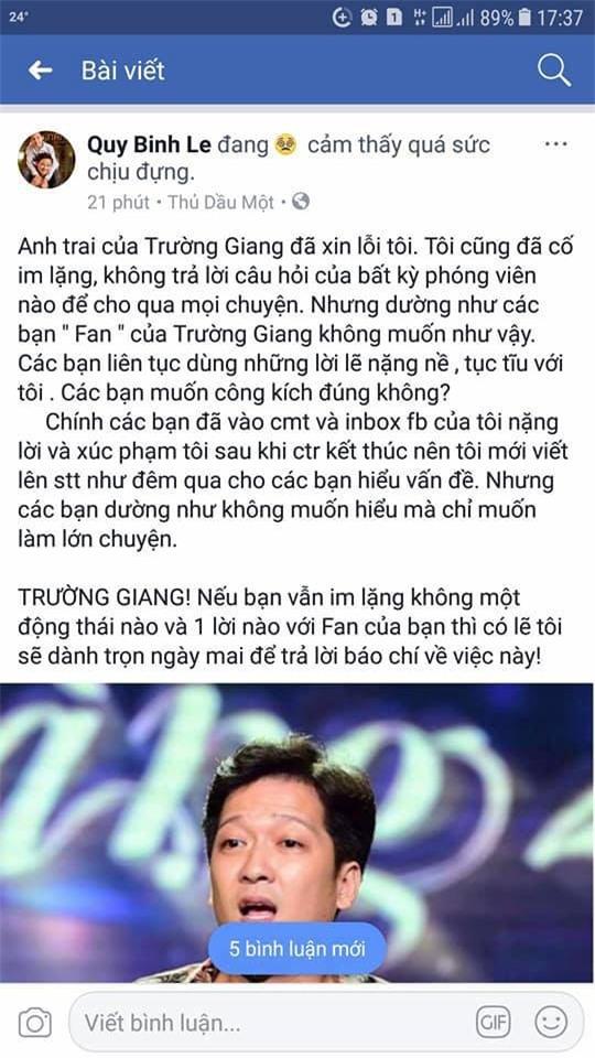 Bị xúc phạm nặng nề, MC Quý Bình cảnh báo Trường Giang - Ảnh 1.