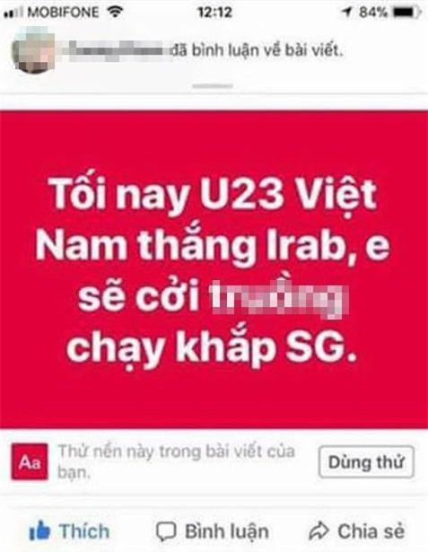 "cuoi ra nuoc mat voi loi hua ""khoa than chay khap pho neu u23 viet nam chien thang"" - 1"