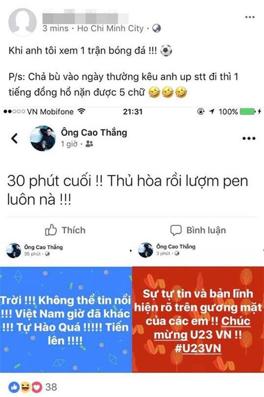 Bình thường viết status 1 tiếng được 5 chữ, thế mà vì U23 Ông Cao Thắng đã liên tục thể hiện tình cảm cực hăng say!