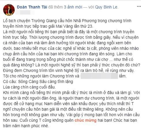 Đoàn Thanh Tài, Trường Giang cầu hôn Nhã Phương, Trường Giang, Nhã Phương