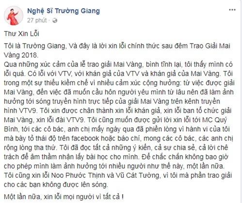 Truong Giang xin loi vi cau hon Nha Phuong tren song truyen hinh hinh anh 1