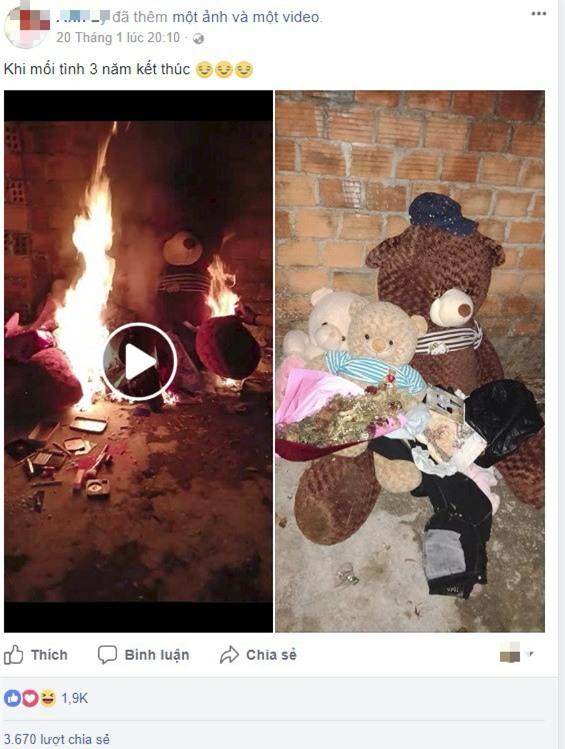 Clip: Chia tay mối tình 3 năm, cô gái nhóm lửa thiêu trụi quà tặng của người yêu cũ - Ảnh 2.