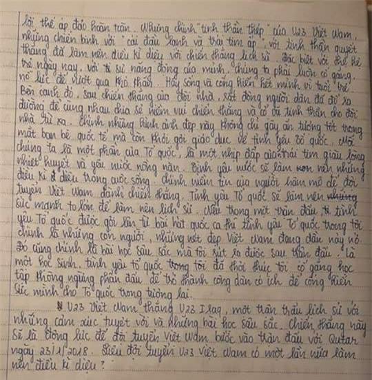 Bài văn đầy xúc động của nữ sinh lớp 9.