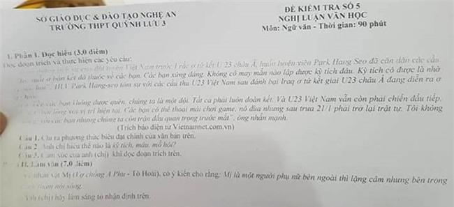 Chien thang cua U23 Viet Nam vao de kiem tra Ngu van hinh anh 1